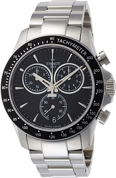 Tissot V8 Black-Silver Stainless Steel Men Watch