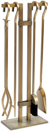 Pilgrim Home and Hearth Burnished Brass Fireplace Set