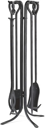 Plow & Hearth 5 Piece Hand Forged Fireplace Tool Set